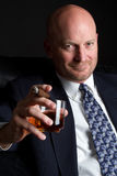 Cigar Businessman Drinking Stock Photos