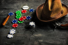Cigar, chips for gamblings, drink and playing cards Royalty Free Stock Image