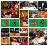 Cigar, chips for gamblings, drink and playing cards stock image