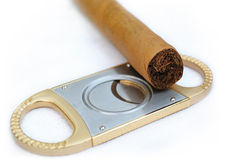 Cigar and cigar scissors Royalty Free Stock Photos