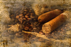 Cigar and coffee bean in small sack on the wooden table. Overlap with old wall textured background. retro filter royalty free stock photos