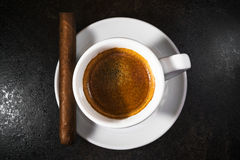 Cigar with a coffee Stock Image
