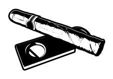 Cigar and Cutter. Black and white vector illustration of a cigar laying on top of a cigar cutter Stock Photography