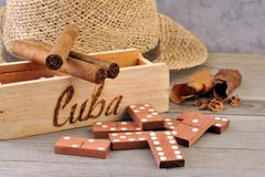 Cigar and domino game  Royalty Free Stock Photography