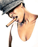 Cigar girl Royalty Free Stock Photo