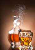 Cigar on glass Stock Image