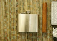 Cigar, hip-flask, watch, phone Royalty Free Stock Photography
