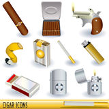 Cigar icons Royalty Free Stock Photos