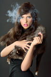 Cigar and lady Royalty Free Stock Photo
