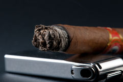 Cigar and lighter Royalty Free Stock Photos