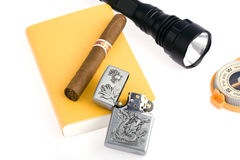 Cigar with  lighter Royalty Free Stock Images