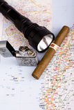 Cigar with  lighter Stock Images