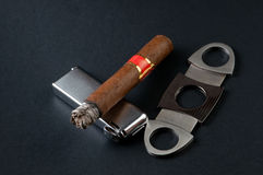 Cigar, Lighter And Cutter Stock Photography