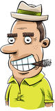 Cigar Man. A retro, cartoon man chomping on a cigar Stock Images