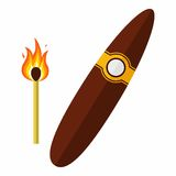 Cigar and Match. Vector Illustration Royalty Free Stock Photo