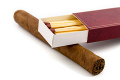 Cigar with matches Royalty Free Stock Images