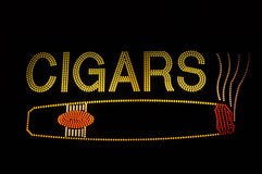 Cigar Neon Sign with Icon stock image