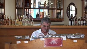 Cigar Roller in the Tobacco House in Trinidad, Cuba stock video footage