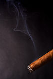 Cigar and smoke. Burning cuban cigar with smoke royalty free stock images