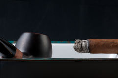 Cigar Smoke And Pipe Stock Image