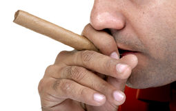 Cigar smoking Royalty Free Stock Photos