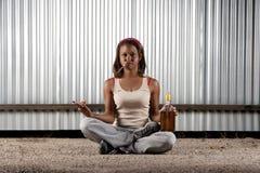 Cigar smoking and drinking woman meditating Stock Photos