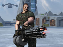 Cigar smoking GI firing at enemies. Digital render of cigar smoking fantasy soldier with huge Gatling gun style weapon with command centre and flying transport Stock Photos