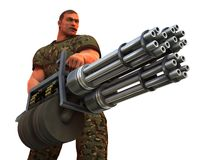 Cigar smoking GI with very big gun Stock Images