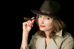Cigar Smoking Spy Royalty Free Stock Image