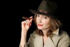 Cigar Smoking Spy Royalty Free Stock Image