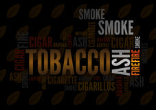 Cigar tagcloud. Wordcloud of cigar on background of tobacco leaves vector illustration