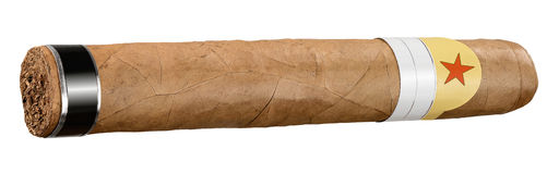 Cigar. Tobacco leaves cigar with red star Stock Image