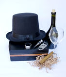 Cigar and Vine Equipment on Cigar Box with Bottle of Red Vine an. Cigar Box and Cigar Equipment with Bottle of Red Vine and Vine Cup and Hat  on White Background Royalty Free Stock Images