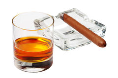 Cigar and whiskey Royalty Free Stock Photo