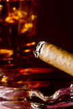 Cigar and Whiskey. Close-up selective focus of a burning cigar with a glass of whiskey in the background Stock Image