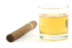 Cigar and whiskey Royalty Free Stock Image