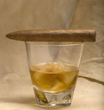 Cigar and Whisky Royalty Free Stock Images