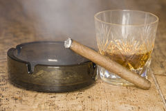 Cigar and whisky Stock Photo