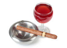 Cigar and wine Stock Images