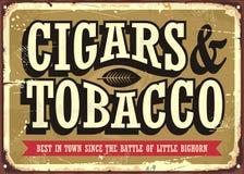 Cigares et signe de vintage de tabac illustration libre de droits