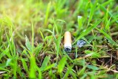 Cigarett på gräs som ut kastas på jordningen Arkivfoto