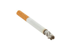 Cigarette. Closeup of lit cigarette with ash isolated on white background Royalty Free Stock Photography