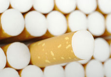 Cigarette. Pulled out of an open Cigaratte packet (Selective Focus Stock Image