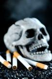 Cigarette. Skeleton Smoking Cigarette on Black stock image