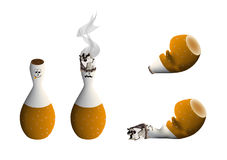 Cigarette. Figures during different stages of burn Stock Image