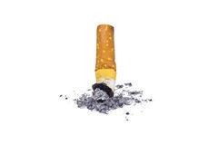 Cigarette. Cigarette butt with ash, Stop smoking Stock Photo