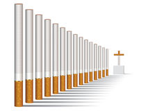Cigarette alley vector. Vector illustration of a cigarettes alley and a grave Stock Image