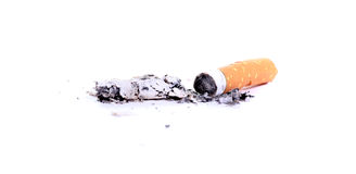 Cigarette with ash Stock Photo