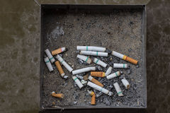 Cigarette ash butt filter in trash Royalty Free Stock Photos