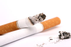 A cigarette with ash  , macro Stock Photo